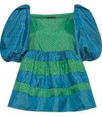kinsley, 870 green blue dots blouses short-sleeved groen stine goya