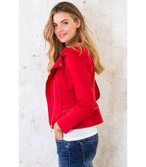 suede biker jacket rood