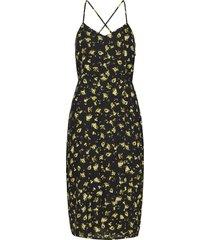 floral cross back slip dress jurk knielengte zwart calvin klein jeans