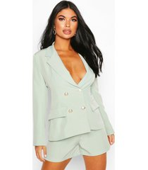 petite double breasted blazer, sage