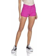 shorts jeans denim zero setentinha colorido rosa