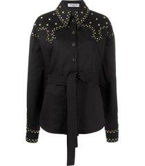 françoise studded belted shirt - black