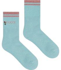 gucci logo rose socks - blue