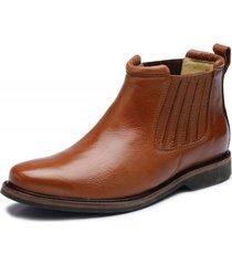 bota botina cano curto em couro top franca shoes caramelo