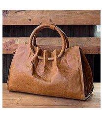 leather shoulder bag, 'honey hoops' (mexico)