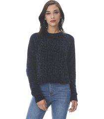 sweater trenzado chenille navy corona