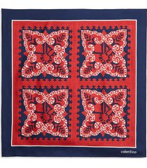 valentino garavani men's logo & quatrefoil-print silk scarf - marine