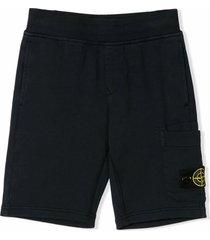 stone island navy blue cotton track shorts