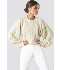 tina maria x na-kd chunky cable knitted sweater - white
