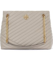 tory burch kira chevron tote bag model in gray grained leather