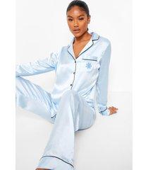 geborduurde satijnen pyjama set met sneeuwvlokken, blue