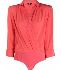 elisabetta franchi draped silk shirt bodysuit - red