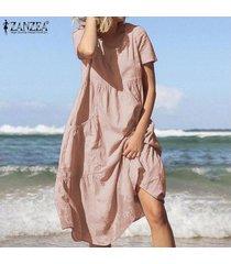 zanzea mujeres de algodón de manga corta cuello roung señoras sólidas vestidos de la playa del verano -rosado