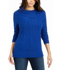 charter club patchwork-stitch asymmetrical-collar sweater, created for macy's