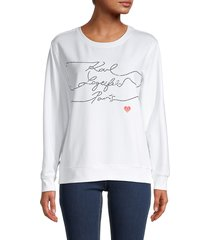 karl lagerfeld paris women's ribbed cotton-blend sweatshirt - white black - size xs