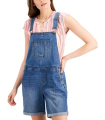 style & co short denim overalls, created for macy's