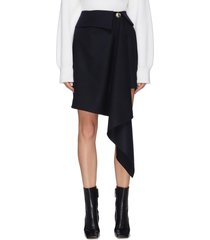 asymmetric draped foldover waist skirt