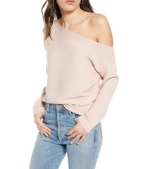 women's treasure & bond one-shoulder pullover, size xx-large - pink