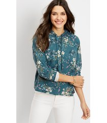maurices womens floral raw edge hoodie blue