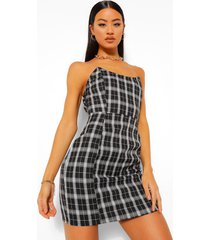 geruite strapless mini jurk met naad detail, zwart