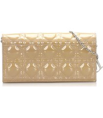 christian dior cannage patent leather wallet on chain brown, beige sz: