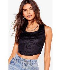 womens corset your priorities right coated denim top - black