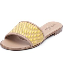 sandalia amarillo/beige beira rio