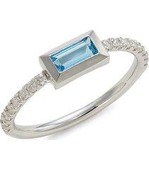 carelle women's rainbow baguette 14k white gold, blue topaz & diamond ring - size 7