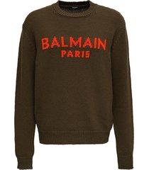 balmain green wool sweater with logo