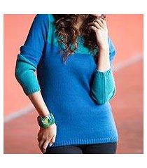 alpaca blend sweater, 'andean blues' (peru)