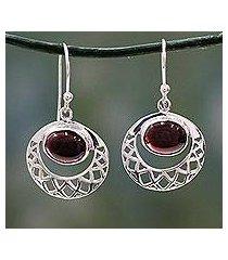 garnet dangle earrings, 'web of hope' (india)
