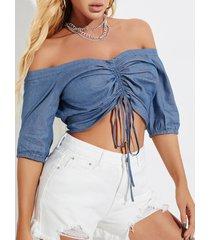 yoins azul ajustable longitud camiseta de media manga con hombros descubiertos