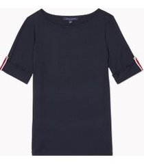 tommy hilfiger women's relaxed fit essential roll-tab sleeve top sky captain - xs