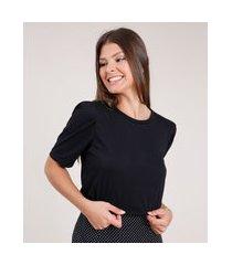 camiseta feminina básica manga bufante decote redondo preta
