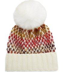 kyi kyi women's faux fur pom-pom wool-blend beanie - ivory multi