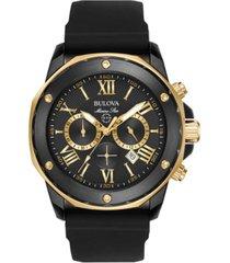 bulova men's chronograph marine star black silicone strap watch 44mm 98b278