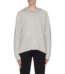 cropped zip rib knit hoodie