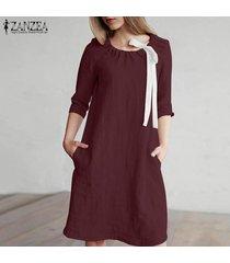 zanzea mujeres longitud de la rodilla vestido del tamaño corto mini vestido de tirantes de algodón de la pajarita plus -rojo