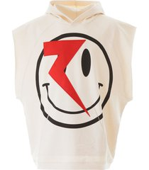 raf simons smile print sleeveless hoodie