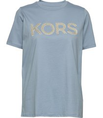 kors stud smrcamp tee t-shirts & tops short-sleeved blå michael kors