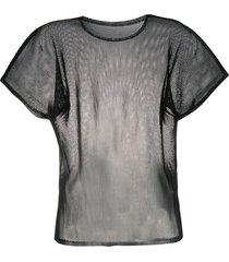 pleats please issey miyake sheer crew-neck t-shirt - black