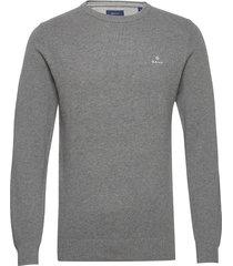 cotton pique c-neck gebreide trui met ronde kraag grijs gant