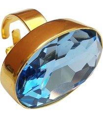 anillo dorado cristal azul