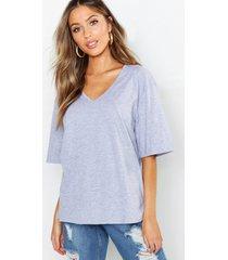 petite oversized t-shirt met v-hals, grijs