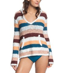 roxy juniors' striped hooded cotton sweater