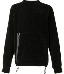 corelate zipped pouch chenille jumper - black