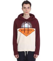 lanvin hoodie sweatshirt in bordeaux cotton