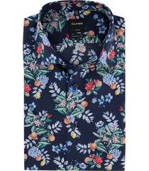 korte mouwen overhemd navy bloemen olymp luxor