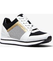 mk sneaker billie in materiale misto - bianco ottico/nero (nero) - michael kors