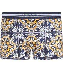 dolce & gabbana maiolica-print cotton boxers - blue